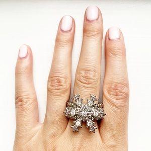 Vintage Anthro silver & rhinestone snowflake ring